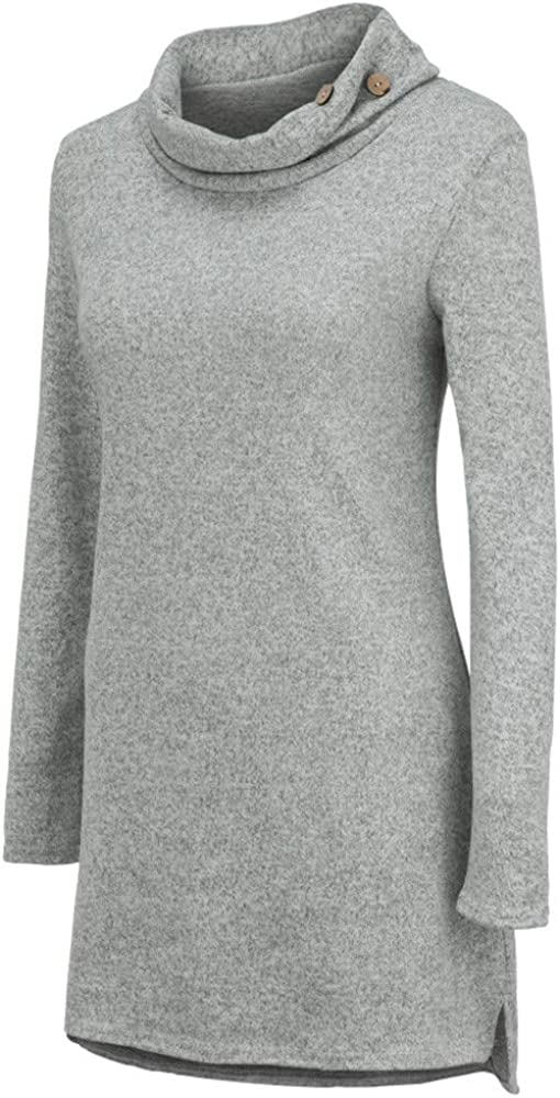 WARMWORD Mangas largas Color sólido Damas Mujer Cuello Alto Mangas Largas Camiseta Blusa Elegante Moda Oficina Casual Color sólido Tops Manga Larga Casual con Botones Camisa de algodón (S, Gris): Amazon.es: Ropa