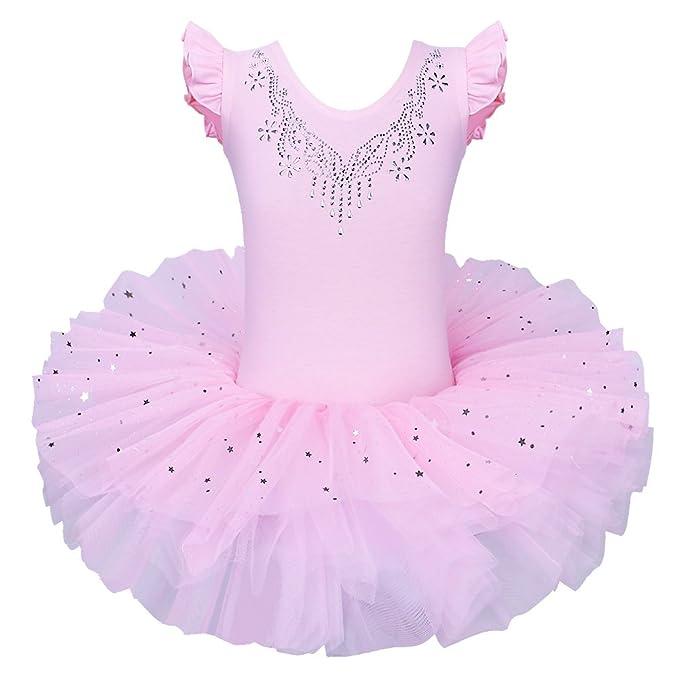 ZNYUNE Maillot de Ballet Danza Niña Tutú Vestido Ballet Princesa Algodón con Estrellas Lentejuelas Brillantes