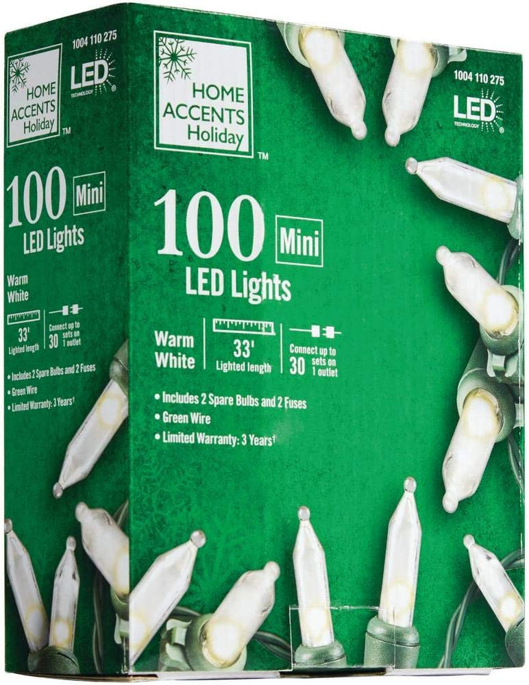 Home Accents Holiday 34 ft.100-Light Mini LED Warm White String Lights with Green Wire L9100174WU01