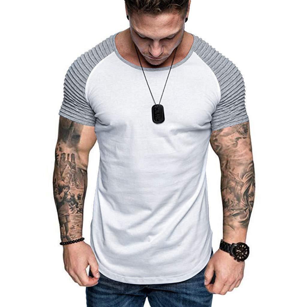 Pattern Top Blouse Slim Fit Casual Pleats Bsjmlxg Mens Summer Patchwork Short Sleeve Fashion
