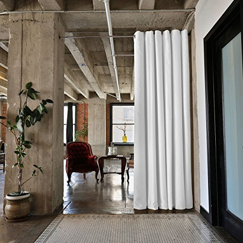 4 Room Kit (RoomDividersNow Premium Heavyweight Tension Rod Room Divider Kit - Medium B, 9ft Tall x 4ft - 6ft 8in Wide (Natural White))