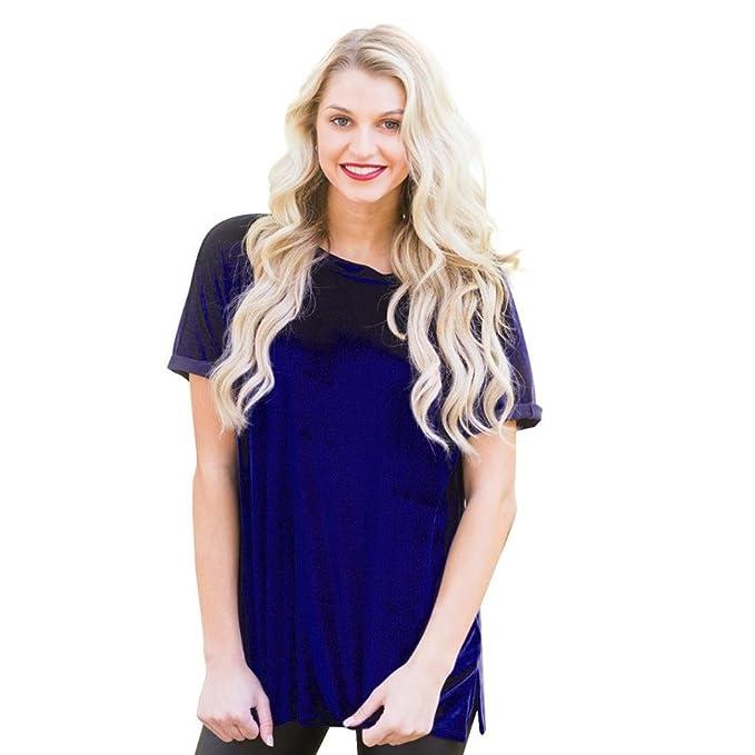 Camisetas y tops,Koly Mujer Casual Blusa Cuello O Camiseta Verano Terciopelo Oficina Tee Encaje