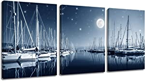 Wall Art for Living Room Canvas Prints Artwork Bedroom Wall Decor Sailboats Yachts Docked on Coast at Full Moon Night Paintings Modern Posters Framed Home Decoration 12