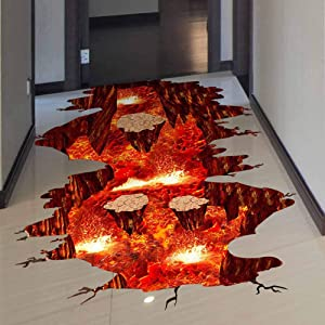 Quanhaigou Creative 3D Space Wall Decals Removable PVC Magic Floor Flame and Lava Wall Stickers Murals Wallpaper Art Decor for Home Walls Ceiling Boys Room Kids Bedroom Nursery School