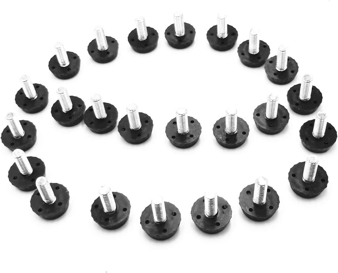 Screw On Furniture Glide Leveling Foot Adjuster for Furniture Legs M6 Thread (20pcs, M6 x 16mm)