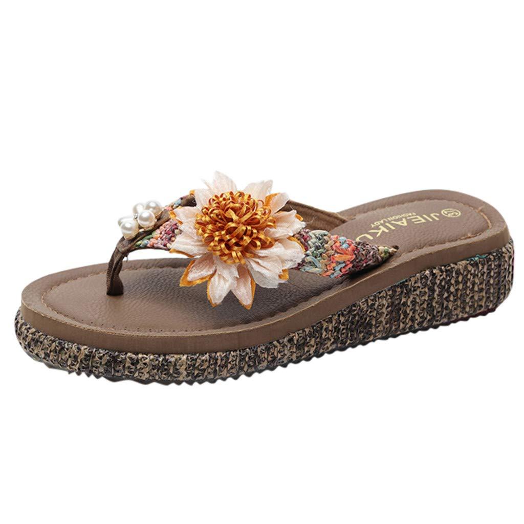 Women Flip Flops Slippers 2019,Allywit Women Girls Floral Wedges Bohemian Style Flip Flops Sandals Slippers Beach Shoes