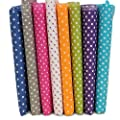 KINGSO 7PCS Cotton Fabric Bundles Quilting Sewing DIY Craft 19.7x19.7inch Polka Dot by KINGSO