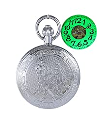 OGLE Waterproof Large Digital Chain Noctilucence Silver Horse Fob Self Winding Automatic Skeleton Mechanical Pocket Watch