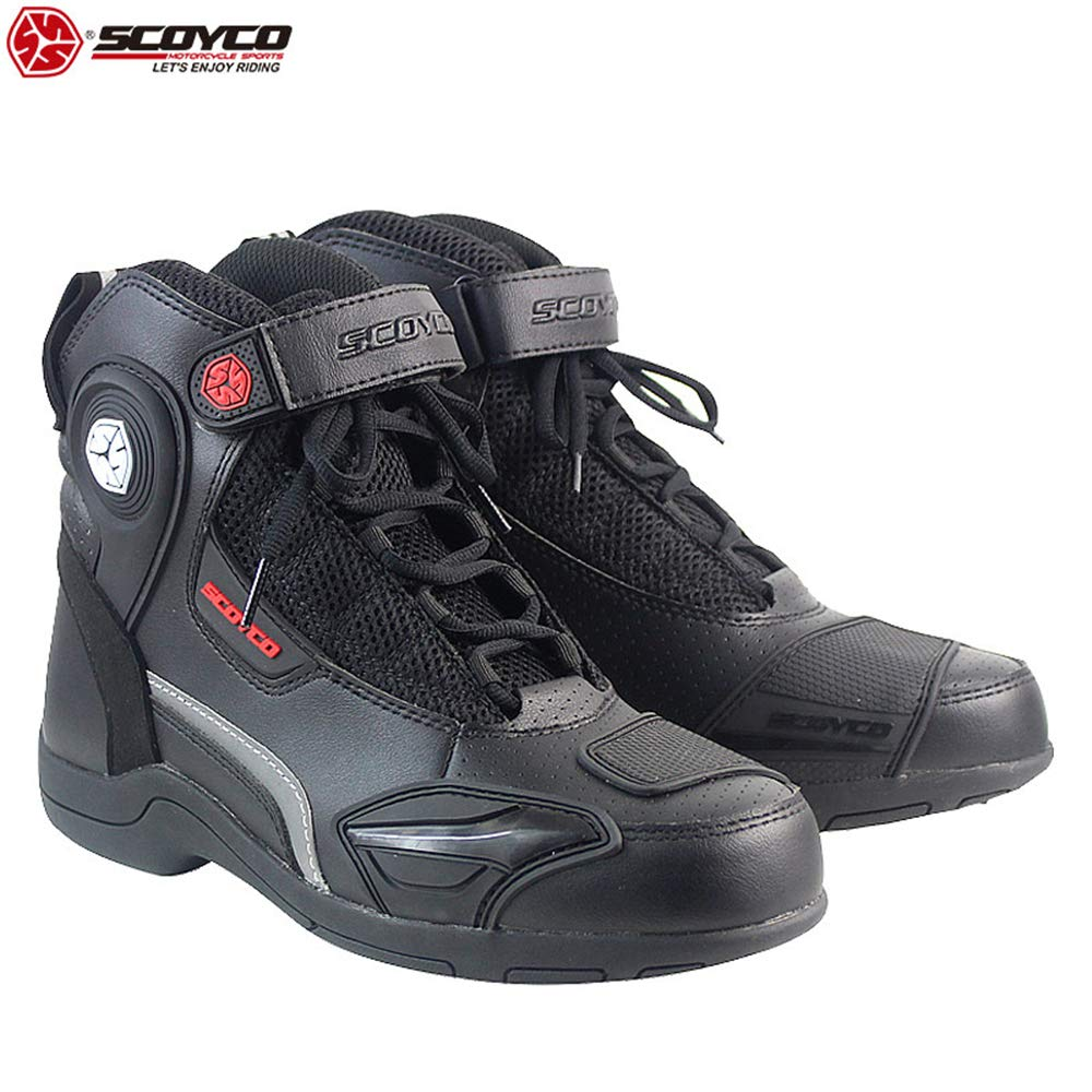 SCOYCO Motorcycle Speed Boots Anti-skip Breathable Safety Shockproof High Ankle Riding Boots Protection Gear Biker shoes MT015 (US10(EUR44)) by Scoyco
