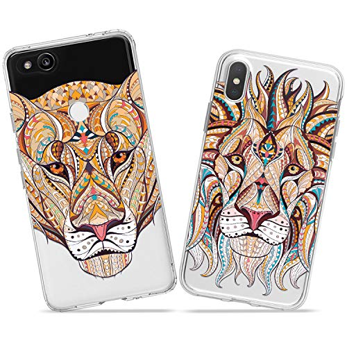 Wonder Wild Lion Pair Case iPhone Xs Max X Xr 10 8 Plus 7 6s 6 SE 5s 5 TPU Clear Gift Apple Phone Cover Print Protective Double Pack Silicone Boho Animals Serious Predators Relationship Indian Art]()