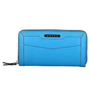 Cross® Women's 100% Genuine Leather Zip Around wallet-Charcoal - Ocean Blue