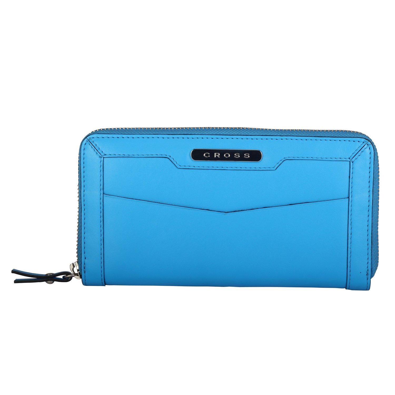 CrossWomen's 100% Genuine Leather Zip Around wallet-Charcoal - Ocean Blue