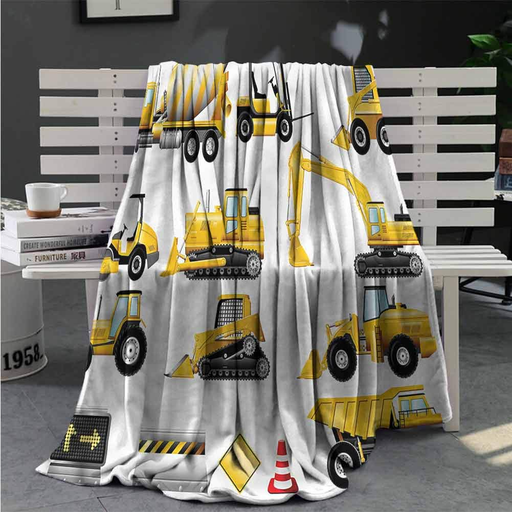 RenteriaDecor Boys Bed Blankets Yellow Construction Site Fleece Throw Blanket Great Gifts to Your Family,Friends,Kids 50X30 Inch
