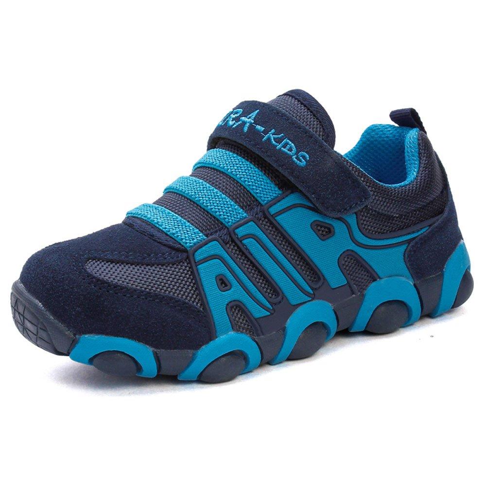 JINDENG Boys Girls Running Shoes Kids Sneakers for Grade School Strap Hook&Loop Walking Footwear Easy On£¨A-Blue,32£