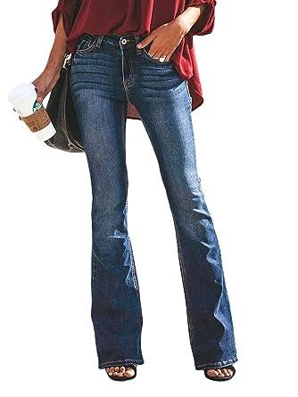 prezzo di fabbrica 6f4ca ba43b OranDesigne Donne Jeans a Zampa di Elefante Moda Pantaloni a Zampa di  Elefante Pantaloni a Vita Alta Elasticizzati
