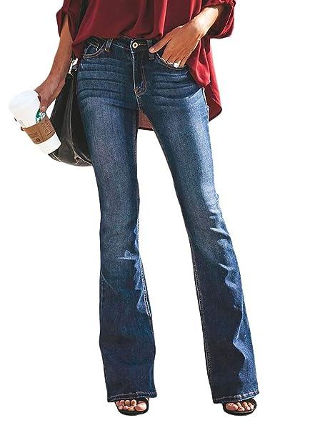 e3f42ba23c3e OranDesigne Donne Jeans a Zampa di Elefante Moda Pantaloni a Zampa di  Elefante Pantaloni a Vita Alta Elasticizzati: Amazon.it: Abbigliamento