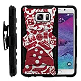 TurtleArmor | Compatible for Samsung Galaxy Note 5 Case | N920 [Hyper Shock] Armor Rugged Hybrid Cover Kickstand Impact Silicone Holster Belt Clip Video Games Design - Gaming Collage