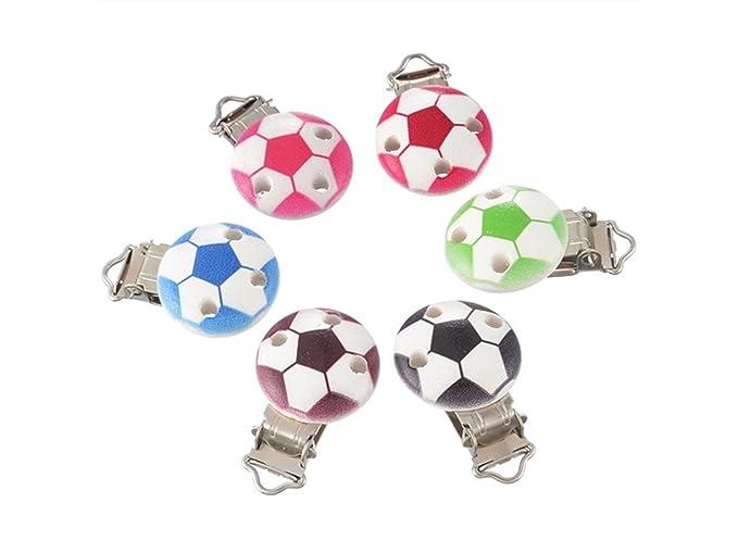 Precioso 5pcs patrón de fútbol bebé dentición chupete clip ...