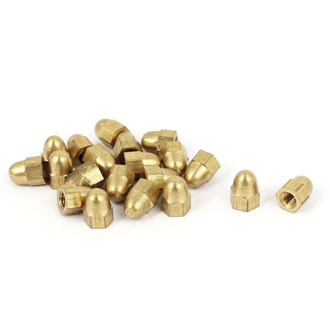 M3 Thread Dia Dome Head Brass Cap Acorn Hexagon Nuts 20pcs
