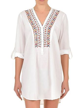 bas prix f8610 45e63 Iconique Vêtement Plage Broderie - Blanc IC7-031: Amazon.fr ...