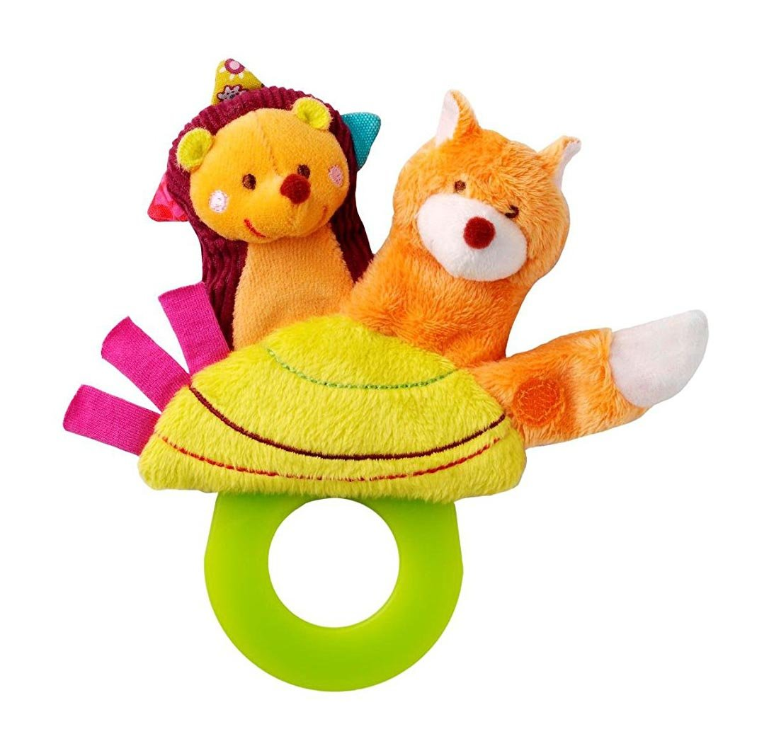 Lilliputiens Simon Teething Rattle (3 Toys in One - Finger Puppet, Teether and Pacifier Holder)