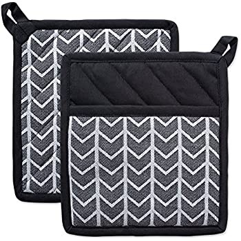DII Cotton Heat Resistant Kitchen Pot Holders Set Farmhouse Chic Geometric Design, Machine Washable for Every Home, (8x8.5-Set of 2), Herringbone