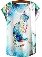 Kaitingu Women's Short Sleeve Cat Graphic Print Vintage T Shirt White …