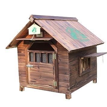 Perreras Casa de perro de madera maciza carbonizada, nido de mascotas caliente resistente a la