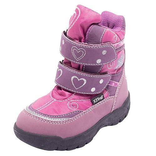reputable site db18f 78de5 Dynamic24 Kinder Thermostiefel Winterstiefel Klett Schuhe Schnee Stiefel  Winter Boots mit Klettverschluss für Jungen Mädchen Modelle LILA und BRAUN  ...