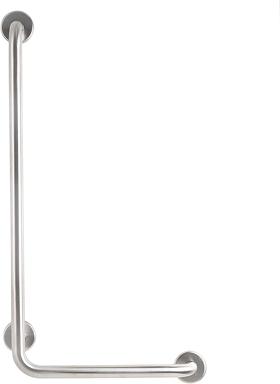 CSI Bathware BAR-VR1632-TW-125-SA L-shaped Vertical Angle Bathroom Safety Bar, Silver