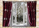 House Decor Fleece Throw Blanket Open Window with View to a Snowy Winter Scene pattern Curtain Drapes Frosty Throw