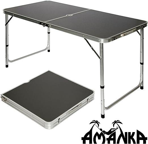 AMANKA Mesa para Acampada 120x60x70cm Incl 4 Taburetes Plegable ...
