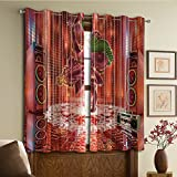 Custom design curtains/Vintage Lace Window Curtain/Grommet Top Blackout Curtains/Thermal Insulated Curtain For Bedroom And Kitchen-Set of 2 Panels(ephant God Dancing Rocking the Dance Floor with it)