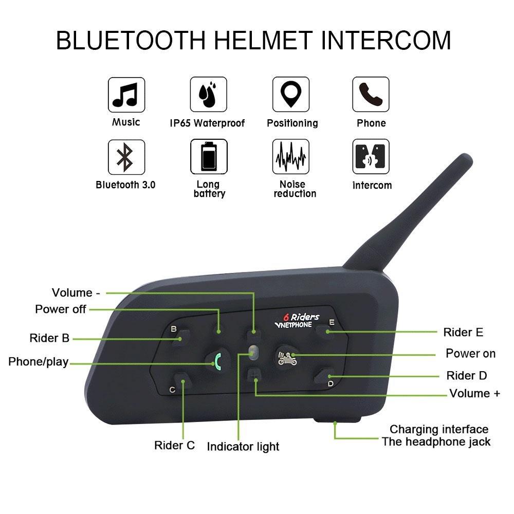 KOBWA 2 X Intercomunicador Bluetooth 1200M Interfono Auriculares para Moto Casco Piloto,Intercomunicación Inalámbrica para Scooters y Motociclista(Entre 6 ...