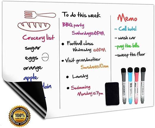 CUHIOY Tableau Blanc Magnétique A3+ pour Frigo,Cuisine Liste des  Courses,Rappel Quotidien Planifier,Gribouillis Enfants Tableau  Aimanté,Flexible ...