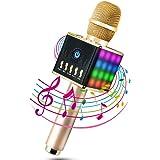Microfono Senza Fili ,Microfono Wireless Karaoke Portatile Bluetooth , 2 Altoparlanti Incorporati, 3.5mm AUX Batteria di 2600mAh Registrazione Compatibile con PC / iPad / iPhone / Smartphone (Oro 02)
