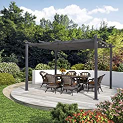 Garden and Outdoor PURPLE LEAF 10′ X 13′ Outdoor Retractable Pergola with Sun Shade Canopy Patio Metal Shelter for Garden Porch Beach… pergolas