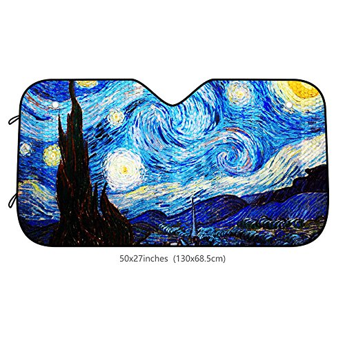 Auto Windshield Sun Shade Car Front Window Sunshade-UV Protection and Keeps Your Vehicle Accessories Cool Heat-Universal Fit and Easy Folding Storage (Van Gogh Starry Sky)