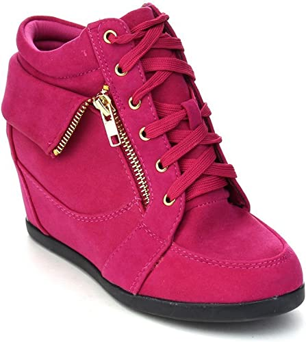 Girls Kids Children Lace Up Wedge High Heel Sneaker Top Boots Forever Link Suede