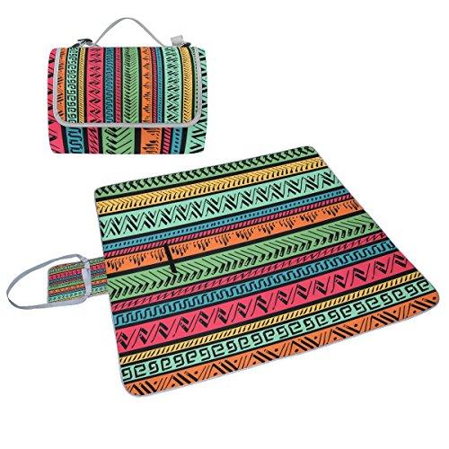Coosun Ethic Motif tribal Couverture de pique-nique Sac pratique Tapis résistant aux moisissures et étanche Tapis de camping pour les pique-niques, les plages, randonnée, Voyage, Rving et sorties