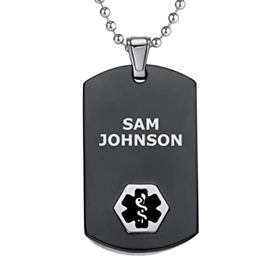 Divoti Custom Engraved Chic Black & Silver Medical Alert Necklace, Medical  ID Necklace Men, Medical Dog Tag and Chain w/Free Engraving