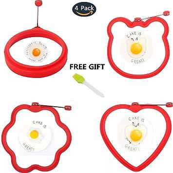 4 piezas nuevo huevo anillo tortitas moldes antiadherente, 4 diferentes forma alimentos grado silicona huevo frito molde, rojo, con verde libre Spray ...