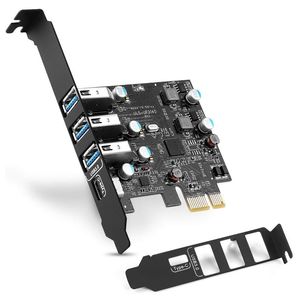 PCI-E USB C Card 4-Puertos(1x USB-C - 3X USB-A) USB 3.0 Expa