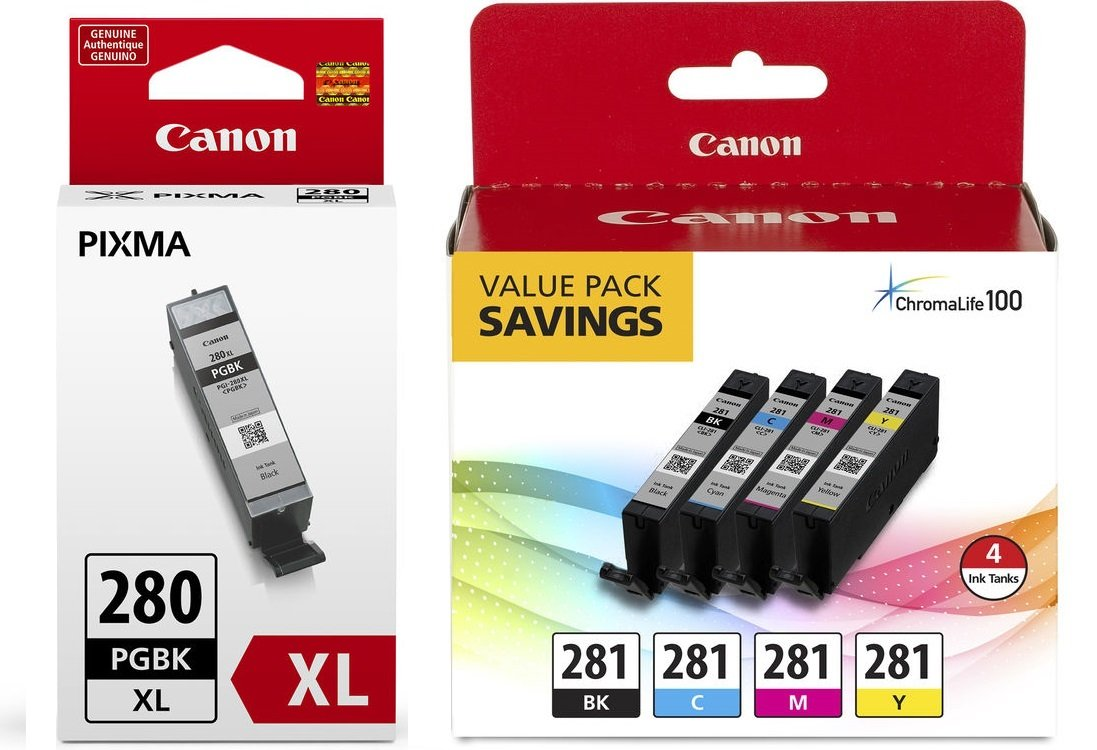 Canon CLI-281 BKCMY 4-Color Ink Tank Value Pack (2091C005) + Canon PGI-280 XL Pigment Black Ink Tank (2021C001)