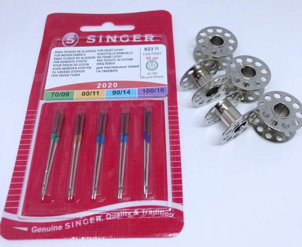 Singer 10 Original coser agujas Surtido 2020 grosor 70/09 80/11 90 ...