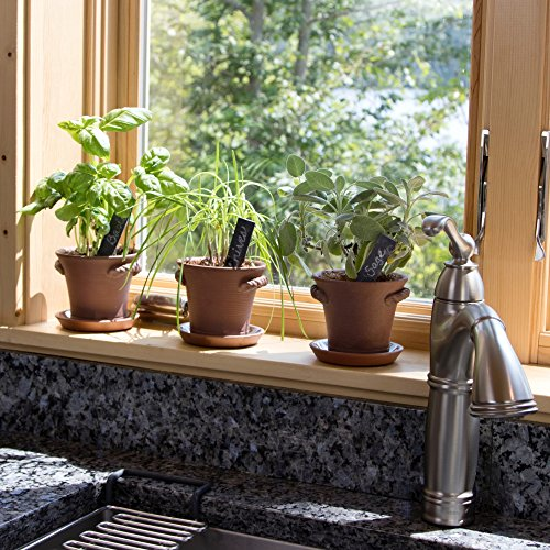 Window Garden Rustic Charm Herb Trio Kit with Planter Pots, Slate Markers, Fiber Soil, Germination Bags, Basil, Chive and Sage Seeds. Complete and Easy to Grow on Indoor Kitchen Windowsill.