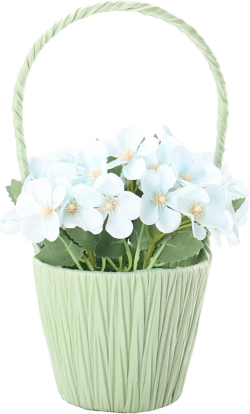 SAROSORA Artificial Begonia Flowers in Hanging Basket - Fake Plants for Birthday Wedding Festival Indoor Home Decoration (Blue, Green Basket)