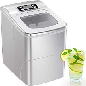 Portable Automatic Ice Maker Machine with Self-clean Function for Countertop, 9 Ice Cubes ready in 8 Minutes,Makes 26 lbs of Ice per 24 hours,with See-through Lid and LED lights (Silver)