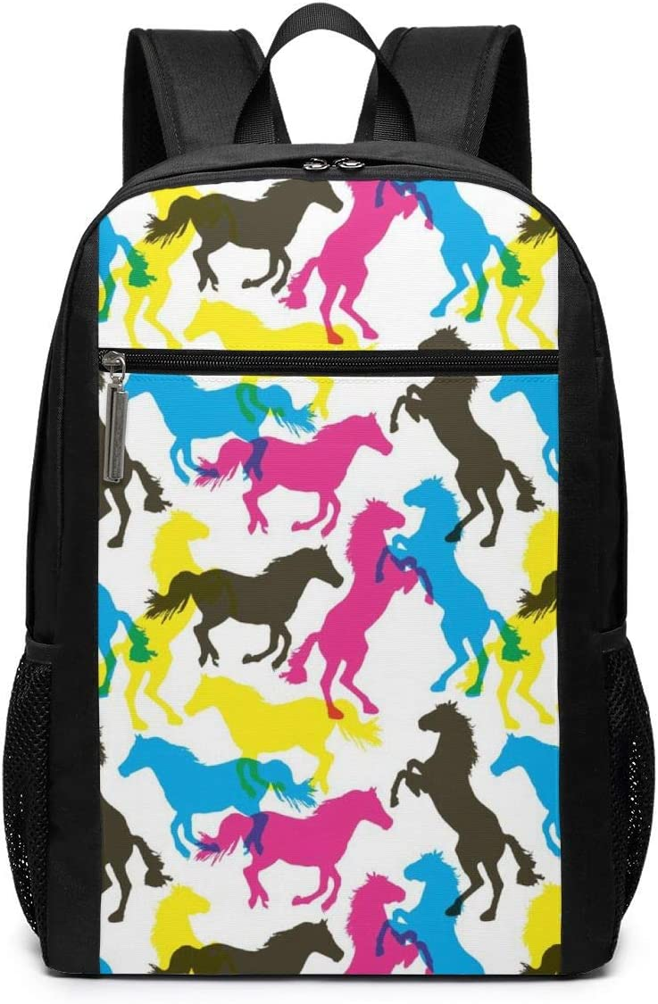 Travel Laptop Backpack Colorful Horses Multi-functional Student Travel Outdoor Backpack