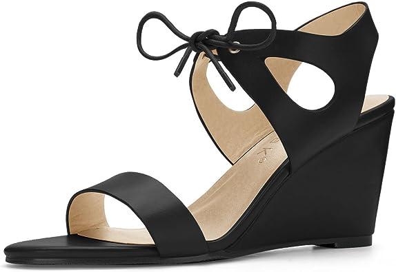 Cutout Tie-up Low Wedges Black Sandals